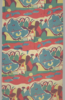 Repeated 1/4 off-set horizontally: 2 people sitting by water with house, boats, and sun in background in red, blue, yellow, green, purple, and black. Silk screened in three colors: dark blue, gold, and rose. Rose over blue for purple, gold over blue for dark green, and all three colors for black.