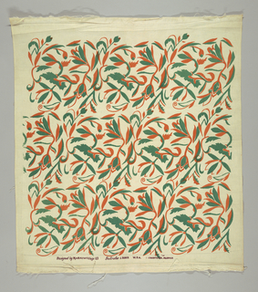 Branching stylized flowers and leaves printed in orange and green.