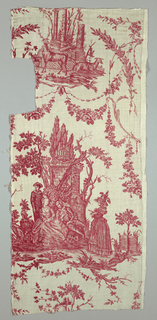Textile printed in red on white showing one repeat of the design  Fragment with red printed on white showing a group of figures including Pierrot in front of ruined architecture. Floral garlands hang overhead.