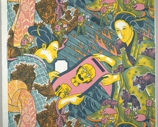 Traditionally dressed Japanese women hold an illustration of a mechanical head.  The background depicts men in space suits walking on the surface of the moon.  A rhinoceros is used to pattern one of the women's kimonos and an illustration of medieval European heralds is a pattern on another kimono. Printed in four colors: deep blue, light blue, yellow and pink.  Yellow over pink for orange.