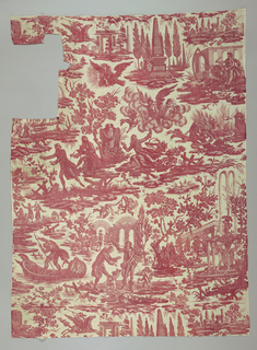Textile printed in red on white showing vignettes with allegorical scenes: a heralding angel of Fame on a flying pegasus before an unornamented triumphal arch and obelisk; a figure mourns next to the tomb of Voltaire in a field of obelisks; three graces dance in front of a seated Apollo; Jupiter's eagle holds a radiant bust of Voltaire in its beak; the figure of History writes Voltaire's name on the back of Time who carries an hourglass and scythe; an angel with a flaming torch greets a putti; a scholar converses with a hunchback man; a man cowers from a figure with snakes in their hands and hair, as well as from Cerberus, the three-headed dog of Hades; bats fly around a crop of flaming rock; Charon rows a boat decorated with the face of Medusa to the Elysian Fields, where the aged figure of Voltaire bows to be crowned with a laurel wreath by Henry IV while putti collect his written works; an elaborate fountain casts arcs of water in front of a building; a figure stand on the edge of a cliff in front of a classical building.