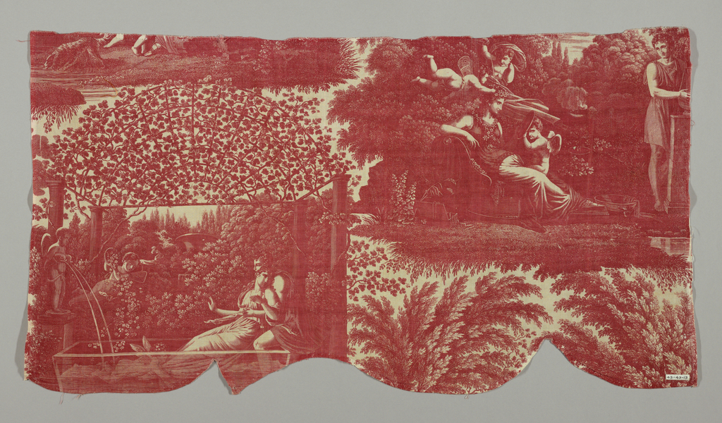 """Four vignettes printed in red on white with figures in classical costume representing scense from a love story. Signed: """"S. Cholot, Sc."""" He was one of the designers for Ferdinand Favre et Cie. about 1820."""