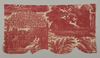 "Four vignettes printed in red on white with figures in classical costume representing scense from a love story. Signed: ""S. Cholot, Sc."" He was one of the designers for Ferdinand Favre et Cie. about 1820."