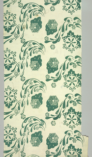 Snowflakes printed in green.