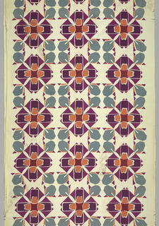 Geometric pattern printed in orange, purple and blue/grey.