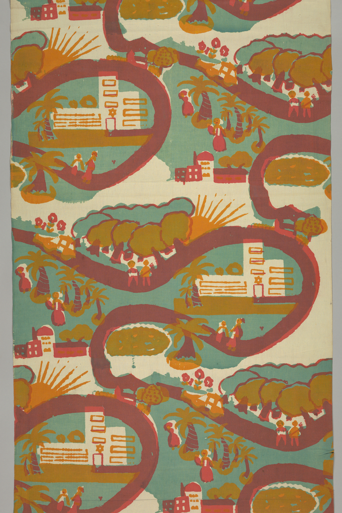 Brick repeat with slightly slanted rows of an Israeli street scene with people walking on a road, palm trees, and synagogue. Printed in three colors: green, rose, and gold (rose over green for purple) on white ground.