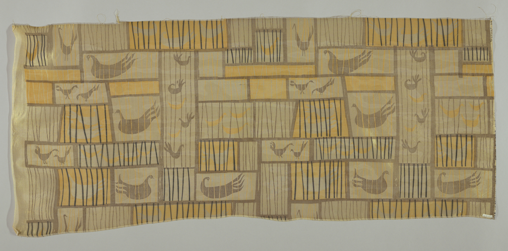 Yellow silk screen-printed in brown, black and deep yellow, with obong rectangles some of which contain silhouettes of birds.