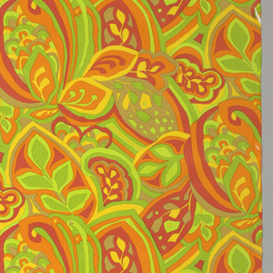 Intersecting shapes containing leaves in very bright colors; red, orange, two greens, yellow, and brown.