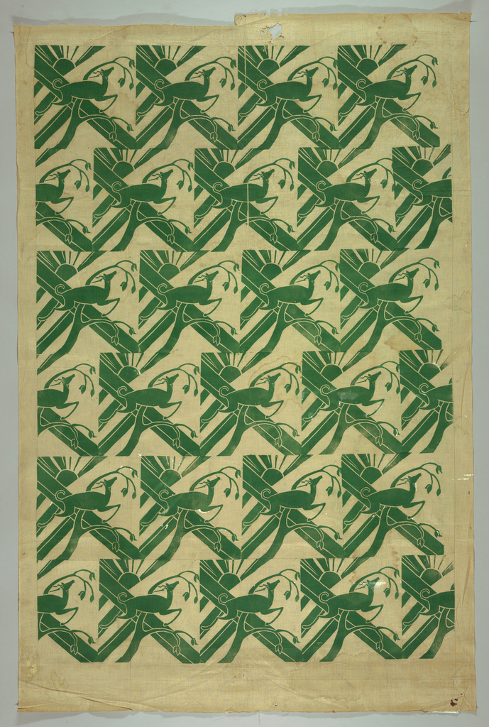 Offset units of a stylized landscape with gazelle, printed in green.