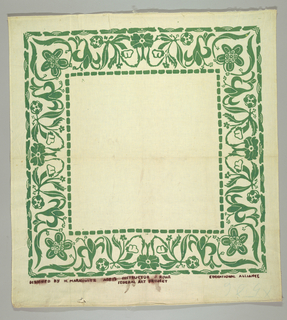 Square cloth with stylized floral border printed in green.