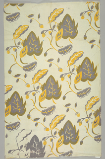 Stylized leaves and acorns printed in yellow and purple.