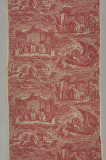 "Four vignettes depicting scenes from the second Crusade story of ""Mathilde et Malek Adhel."" Printed in red on white ground."
