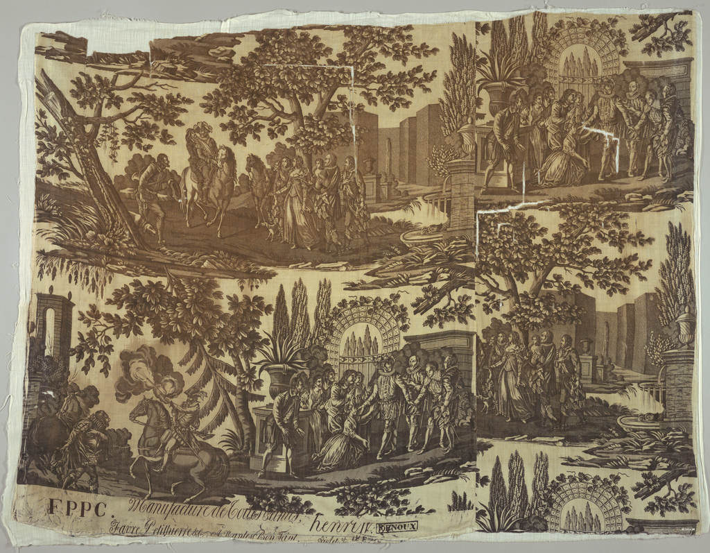 """Toile, scenes in the life of Henri IV. Marked """"F P P C Favre, Petitpierre & Cie: a Nantes"""" etc."""