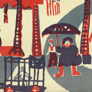 Brick repeat of circus scene with elephants, fat woman with an umbrella, people in grand stand, and tight rope walker. Printed in rose, grey, and navy blue (grey over rose for light purple).