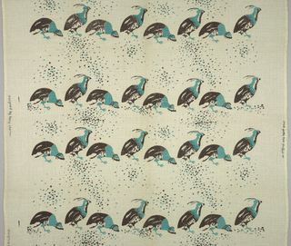 White, loosely woven bouclé fabric screen printed with horizontal rows of birds walking, with a scattering of oblong flecks at which every other bird appears to peck. In black and brilliant blue-green.
