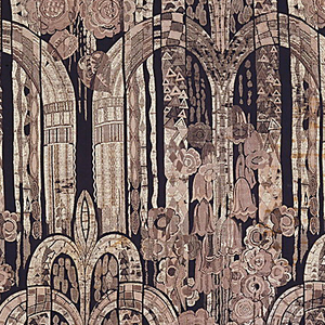 Length of woven fabric with stylized three-tiered fountains, each arc filled with small geometric forms, interspersed with flowers, in taupe and yellow on a black ground.