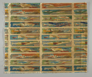 Grid of narrrow vertical rectangles, each filled with abstract painterly designs, some resembling fish, in brown, grays, teal blues, greens, yellow, orange and red on a tan ground.