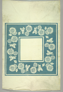 Square table cloth with wide border of sunflowers. The flower is white with the background printed in blue.