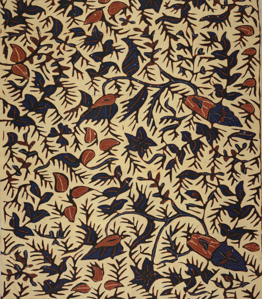 A sarong with cream ground and highly conventionalized large-scale floral and foliate design in blue, white, and brown.