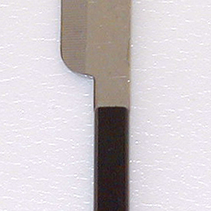 Stainless steel blade with rounded end. One side of blade tapered toward serrated cutting edge. Square section of blade continues into molded brown plastic handle of rectangular section with rounded sides and blunt end.