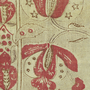 Fragment of printed cotton with a striped pattern of branches spreading out from a narrow stripe, in red and dark brown on a white ground with brown picotage. Note 5-pointed stars on one blossom.