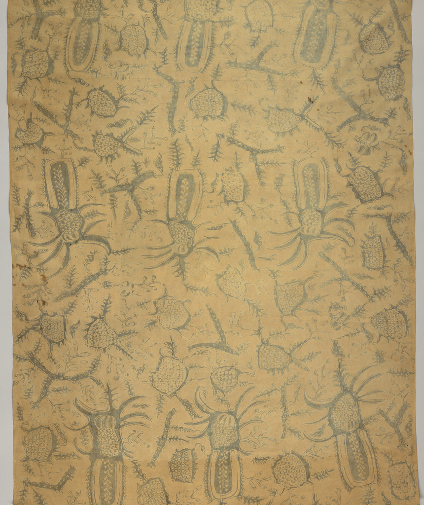 """Yellowed cotton, possibly a long sarong (kain panjang), patterned in blue (faded) by unidentifiable plant forms and border at one end with """"tumpal"""" motif (row of isosceles triangles) containing a plant on a vine."""