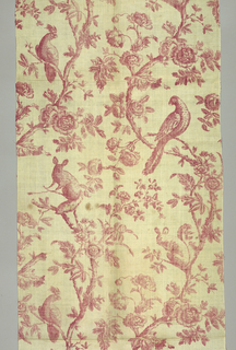 Red and white toile with a pattern of two curving flowering trees. Each tree has a squirrel and an exotic bird on it.