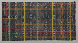 Elaborate windowpane plaid in a bold design of blue and white jaspe with intersecting dashed lines and geometric forms. Jaspe patterning offset with narrow stripes of red, yellow and green. Both selvages present.