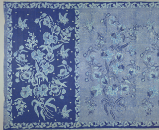 "A panel of glazed cotton, resist-printed, probably by a batik method known as cap (tjap) printing (wax resist applied by means of blocks inlaid with copper strips). Design is dark blue, light blue, and white, showing butterflies and birds in and around a large bouquet of twining flowers (""buketan"" motif). Border is floral (a North Javanese batik innovation) with narrow outer edge of minute horizontal stripes. Two thirds of the piece (the body or 'badan') has a dark blue ground covered with white dots like grains of rice; the other third of the design (the head or 'kepala' ) has a plain dark blue ground. The birds, butterflies, and bouquet are in two shades of blue, filled in with white dots and lines."