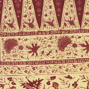 "Length of batik divided into three sections: two end sections patterned by loose all-over floral vine; and the middle section by a mirror repeat of triangles (""tumpal"" motif) and two floral borders. The pattern is dark red on ivory ground. Two or four edges have borders."