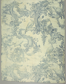 Large scale design printed in blue on white shows birds among rococo scrolls, flowers and foliage.