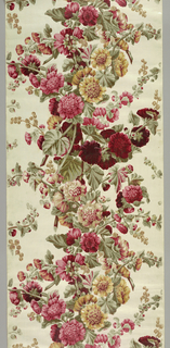 Glazed chintz panel with a design of double hollyhocks in shades of red, green, and yellow on a cream-colored ground.