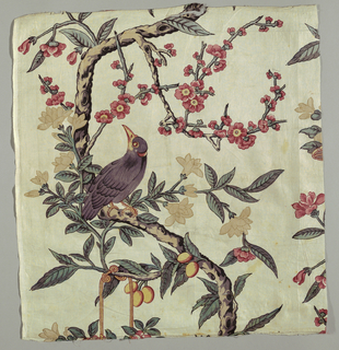 Two curving branches making an ogee curve with chinoiserie flower basket, mynah bird and peach blossoms.