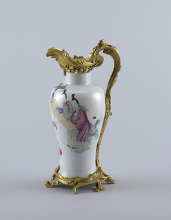 "Baluster-shaped vases with ormolu mounts in shape of ewer. Interior scene with figures, animals, porcelains and flowers in overglaze enamel in ""famille rose"" colors."