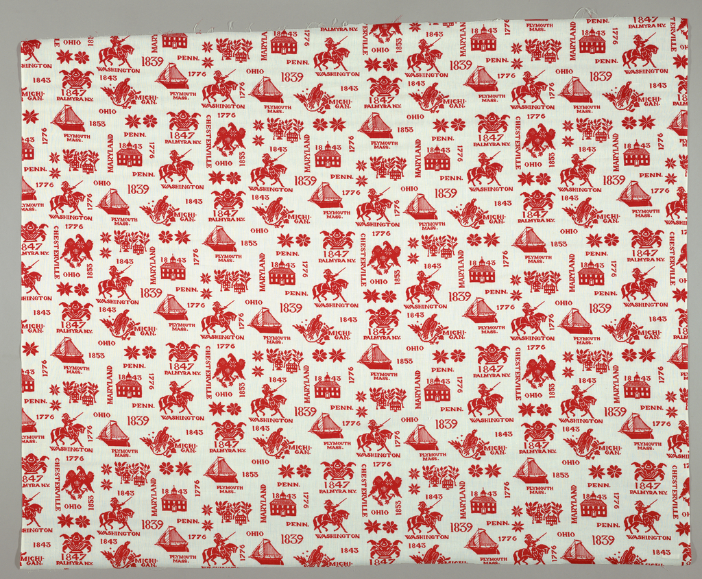 Length of printed fabric commemorating the U.S. Bicentennial. The elements from an early Americanw oven coverlet make up a unit which is vertically offset in red on a white background. The unit contains the names of towns and states, the Mayflower, Constitution Hall, the American bald eagle, George Washington and bird and flowers.