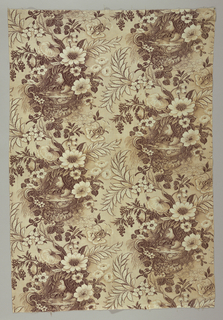 White cotton, roller printed in shades of brown on greyish ground. Flower clusters around an urn of water on which perch two birds; snake coiled at side. Below urn minute naked figures appear. White cotton scallop fringe attached at bottom.