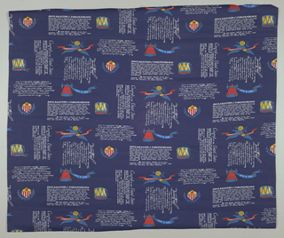 Length of fabric commemorating the U.S. Bicentennial. Half drop repeat containing the first paragraphs of the Declaration of Independence Congress of the United States and statement of John Hancock with Liberty Bell, drums and American Symbols on navy blue baxkground.
