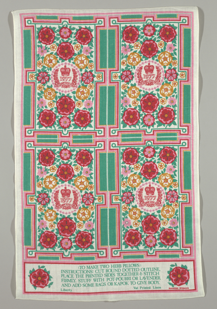 """Printed panel with instructions on making two herb pillows. Flower heads with leaves surround a laurel wreath and a banner that reads: """"The Queen's Silver Jubilee."""" Above the banner is the year """"1977"""" and a closed crown. At the bottom is a rectangle with instructions on making the pillows."""