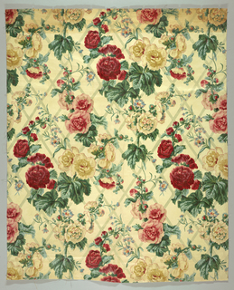Panel of printed cotton in a large flower design of roses against a trellis ground.