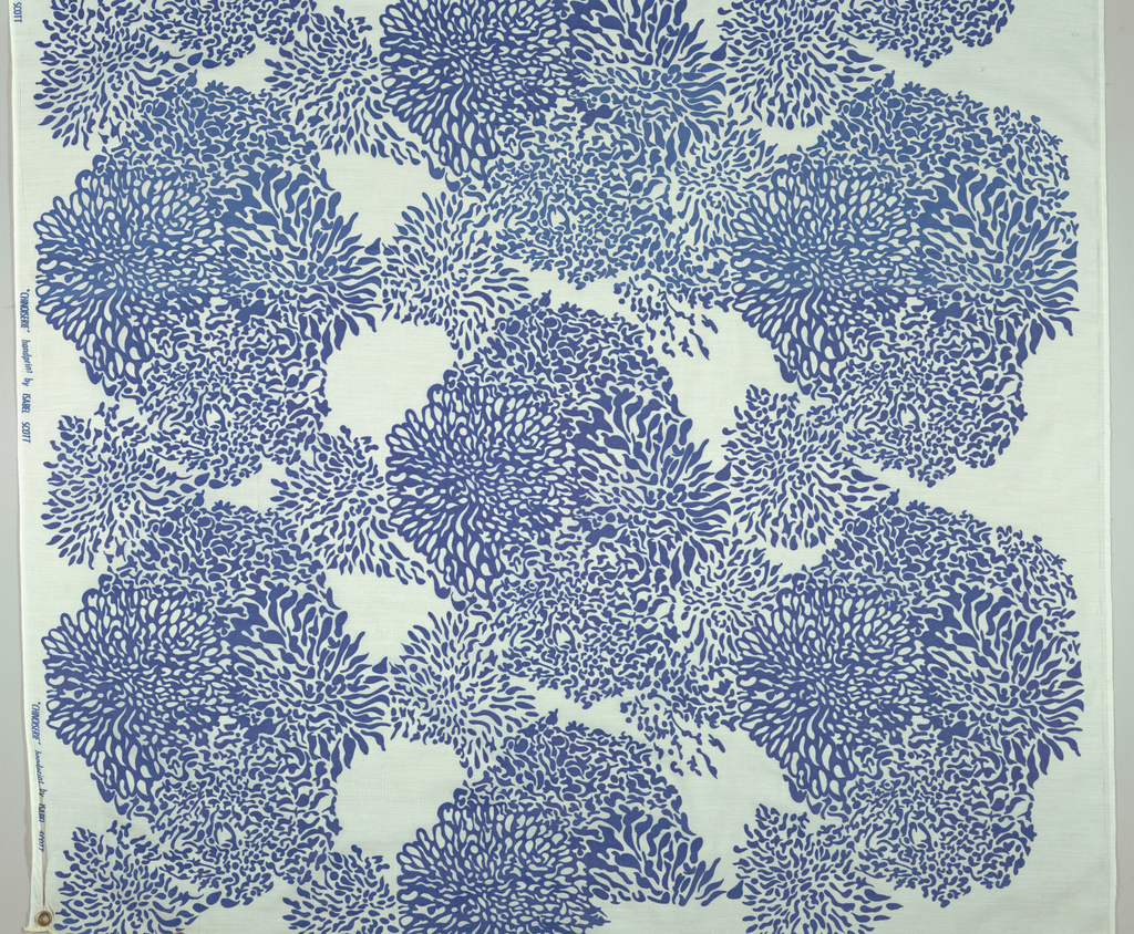 "Panel of sheer white, printed in large scale over-all pattern of chrysanthemum-like shapes in bright blue. 18"" repeat"