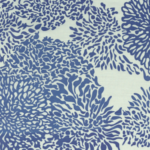 """Panel of sheer white, printed in large scale over-all pattern of chrysanthemum-like shapes in bright blue. 18"""" repeat"""