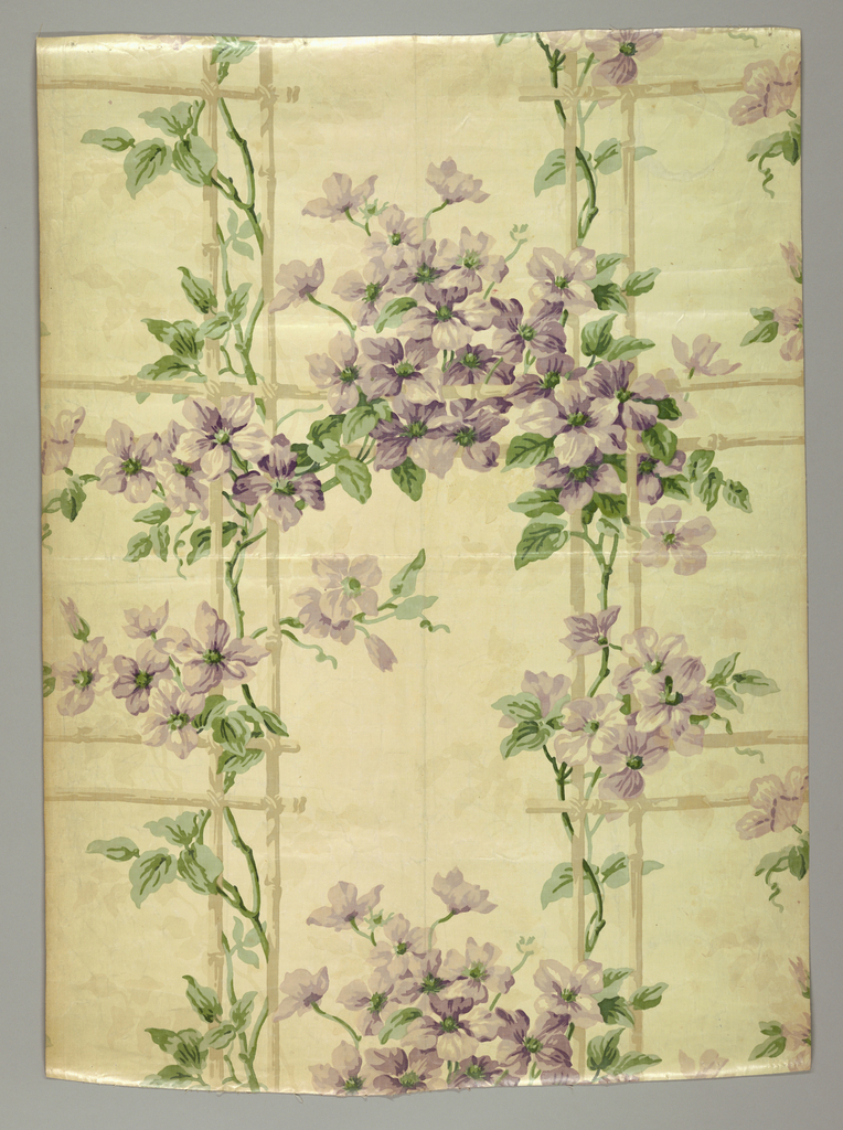 On white ground, very large scale clematis clusters, climbing on trellis, in pastel shades of lavender, green and beige.