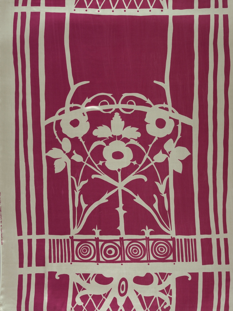 Design shows symmetrical iron gate with central rose pattern framed by geometric linear shapes, printed in fuchsia pink on white. Length made up of three pattern repeats.
