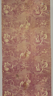 """Straight repeat of three offset scenes framed by am ivy vine fulling full width of fabric. Each scene illustrates children in a field. Length of repeat: 42cm. (16 1/2""""). Fabric does not seem to be wide enough for the pattern."""