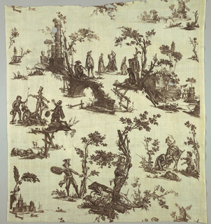 Textile printed in brown on white showing scenes from the story of Don Quixote.