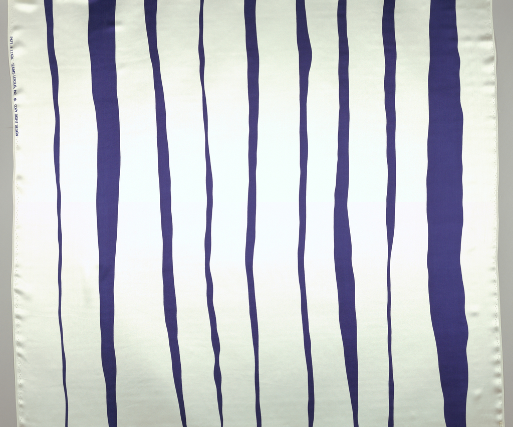 Printed in dark blue against white. Design shows tapered stripes of varying widths.