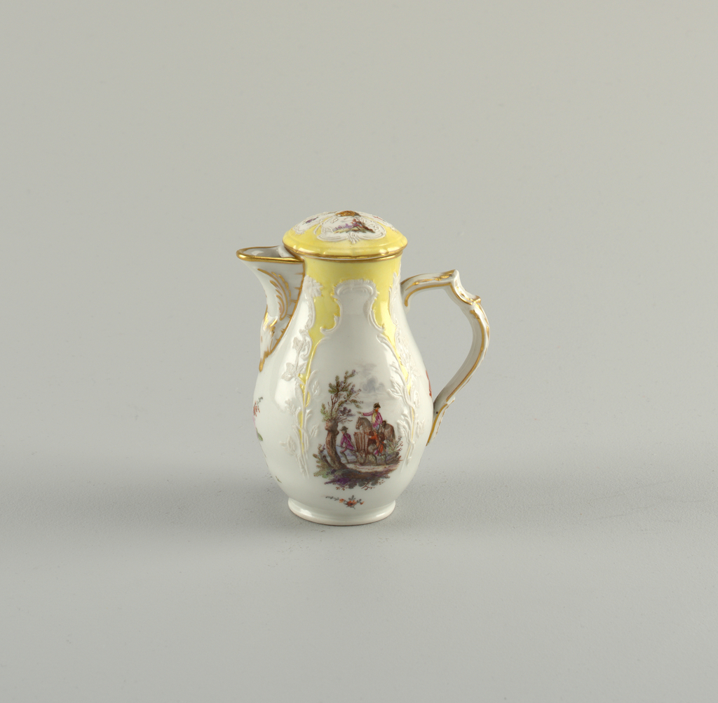 Pear-shaped body, slightly compressed in lower part. Open spout, triple scrolled handle. Domed cover with pine-cone knob. unglazed relief lines, forming four compartments. The area between these, and the edge are painted yellow. Polychrome soldier scenes and flower clusters alternating in panels on pot and cover. Gold edge and scents on spout, handle and knob.