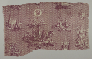 Scenes of medieval figures and warriors on a background of pointed arches. In deep brown/red on white.