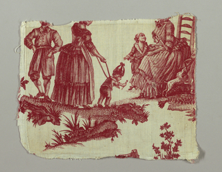 Two fragments  showing a nursemaid leading a toddler in reins toward a seated woman with children around her. In red on white.