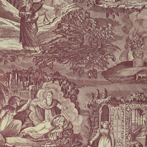 Four allegorical scenes. 1) A couple dancing and an old man with a harp. 2) A sleeping woman; in front of her, man holding a torch. 3) A woman beside a kneeling man, in background architectural scene. 4) Man and woman seated. Printed in Mauve.